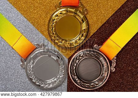 Top View Set Of Gold Silver And Bronze Award Medals Close Up
