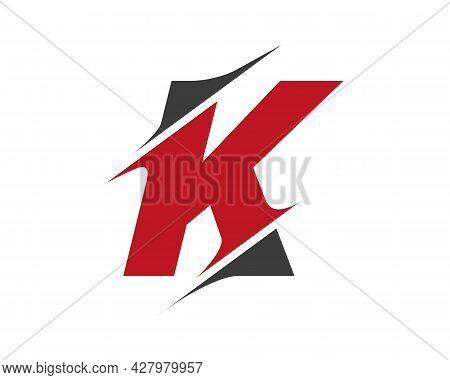 Initial Monogram Letter K Logo Design Vector. K Sliced Letter Logo. Modern K Letter Logo With Slash