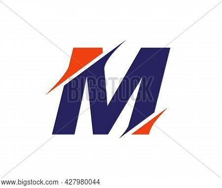 M Sliced Letter Logo. Modern M Letter Logo With Slash Concept. Initial Monogram Letter M Logo Design