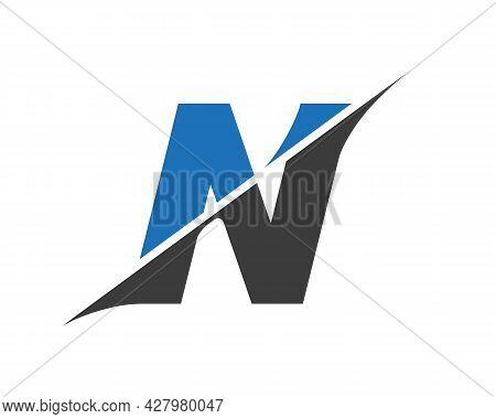 N Letter Logo With Slash Concept. Initial Monogram Letter N Logo Design Vector. N Sliced Letter Logo