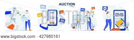 Auction Concept Set. Selling Painting, Buyers Place Bids, Buying In Online Auction. People Isolated