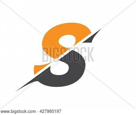 Monogram Letter S Logo Design Vector. S Sliced Letter Logo. Modern S Letter Logo With Slash Concept.