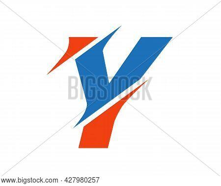 Y Sliced Letter Logo. Modern Y Letter Logo With Slash Concept. Y Logo Design.