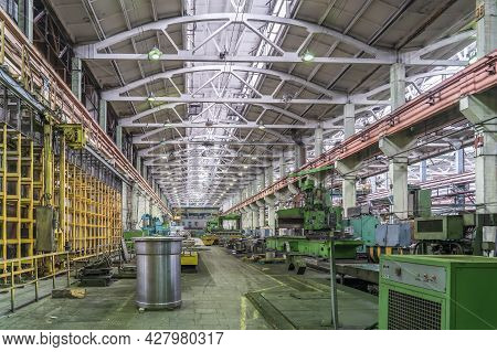 Metalwork Factory With Machines And Lathes For Processing Metal Production, Industrial Interior.