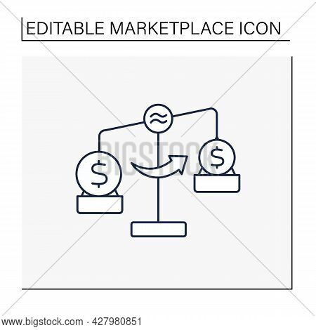 Liquidity Line Icon. Minimum Number Of Producers And Consumers On Marketplace.buyers And Sellers Can