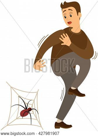 Man Suffering From Fear Of Spiders. Person Is Scared Of Big Bug On Spiderweb. Male Character Shaking