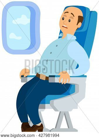 Terrified Airplane Passenger Shocked By Turbulent Area. Man In Airplane Frightened By Flight. Person