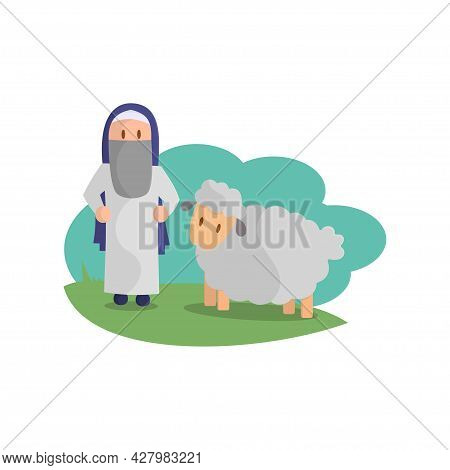 Happy Eid Adha. Celebration Of Muslim Holiday The Sacrifice A Sheep