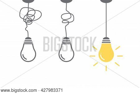 Creative Idea Banner. Light Bulb Icon On White Background. Energy And Thinking Symbol. Idea And Insp