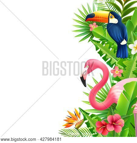Opulent Rainforest Foliage Vertical Border With Pink Flamingo  Toucan And Bird Of Paradise Flower Co