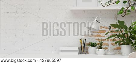 Minimal-loft Apartment In White Brick Wall With White Decorations, Table Lamp, Books, Stationery, Sh