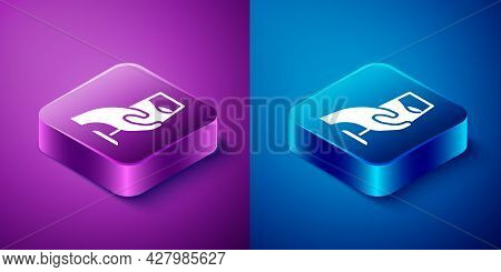 Isometric Wine Tasting, Degustation Icon Isolated On Blue And Purple Background. Sommelier. Smells O