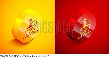 Isometric Wine In Italian Fiasco Bottle Icon Isolated On Orange And Red Background. Wine Bottle In A