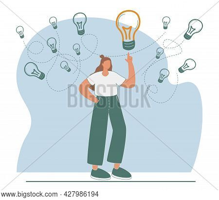 Gather Ideas And Choose Best From Many After Brainstorm Tiny Person Concept. Creative And Innovative