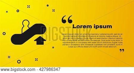 Black Escalator Up Icon Isolated On Yellow Background. Vector