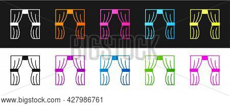 Set Circus Curtain Raises Icon Isolated On Black And White Background. For Theater Or Opera Scene Ba