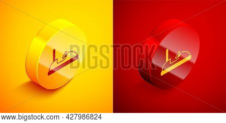 Isometric Bumper Car Icon Isolated On Orange And Red Background. Amusement Park. Childrens Entertain