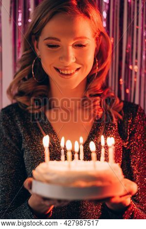 Birthday Woman. Holiday Cake. Festive Celebration. Happy Inspired Lady Feeling Amazed Holding Pastry