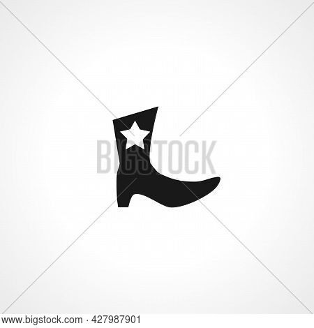 Cowboy Boots Icon. Cowboy Boots Simple Vector Icon. Boots Isolated Icon.