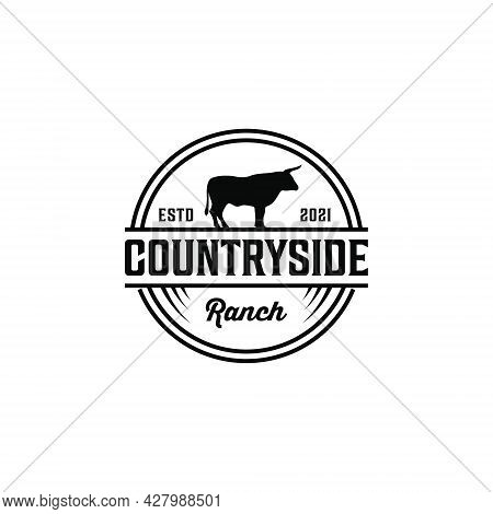 Countryside Vintage Retro Cattle Bull Animal Logo Design Rustic. Logo Can Be Used For Icon, Brand, I