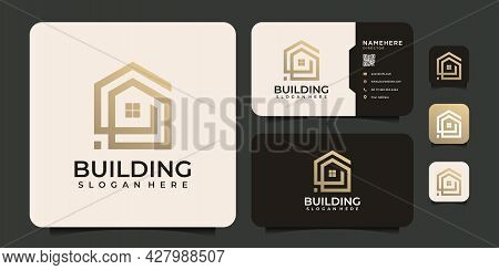 Creative Line Building Real Estate Logo Office Mortgage Elements. Logo Can Be Used For Icon, Brand,