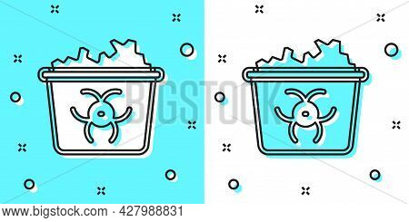 Black Line Infectious Waste Icon Isolated On Green And White Background. Tank For Collecting Radioac