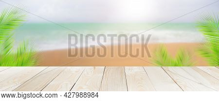 Emty Wood Table On Blue Sea And Blue Sky. Wood Perspective At Coast Tropical Ocean Nature On Day For