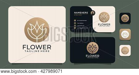 Feminine Elegance Lotus Hotel Resort Flower Logo Design With Business Card. Logo Can Be Used For Ico