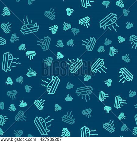 Green Line Served Fish On A Plate Icon Isolated Seamless Pattern On Blue Background. Vector