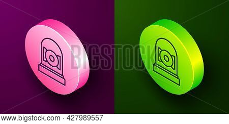 Isometric Line Ringing Alarm Bell Icon Isolated On Purple And Green Background. Alarm Symbol, Servic