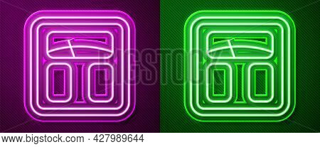 Glowing Neon Line Bathroom Scales Icon Isolated On Purple And Green Background. Weight Measure Equip