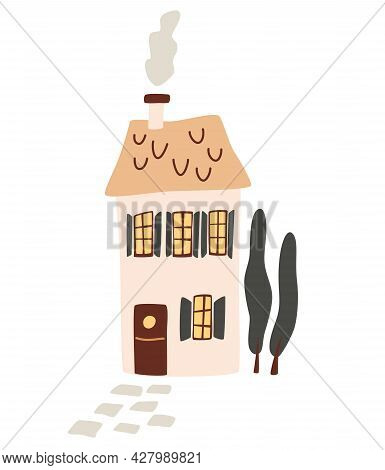 Cartoon Beautiful Big House. Country House With Smoke From The Chimney And Thuja.  Suburban Cozy Hom