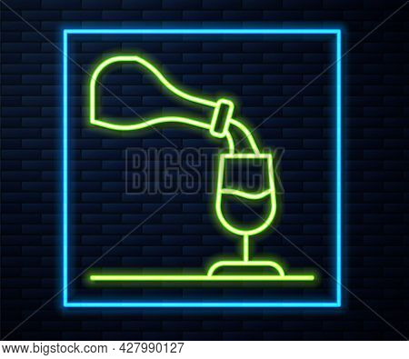 Glowing Neon Line Wine Tasting, Degustation Icon Isolated On Brick Wall Background. Sommelier. Smell