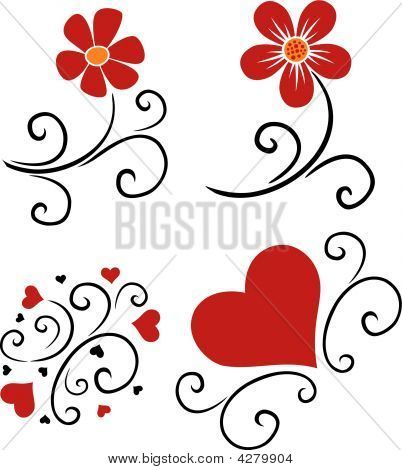 pattern of flowers and hearts vector silhouette poster