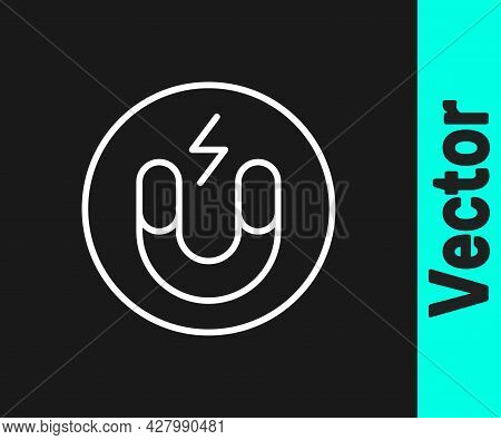 White Line Magnet Icon Isolated On Black Background. Horseshoe Magnet, Magnetism, Magnetize, Attract