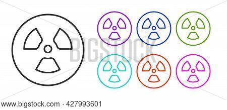 Black Line Radioactive Icon Isolated On White Background. Radioactive Toxic Symbol. Radiation Hazard