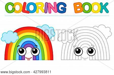Coloring Page Funny Smiling Rainbow. Educational Tracing Coloring Book For Childrens Activity. Trace