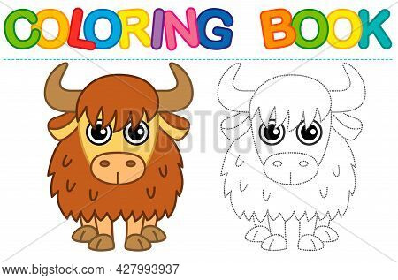 Coloring Page Funny Smiling Yak. Educational Tracing Coloring Book For Childrens Activity. Trace Das