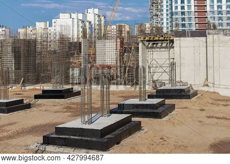 Monolithic Reinforced Concrete Foundations For The Construction Of A Residential Building. Grillage