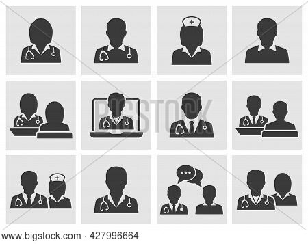 Doctor And Nurse Icon Set. Collection Of Sick, Therapist, Surgeon, Professional And More. Vector Ill