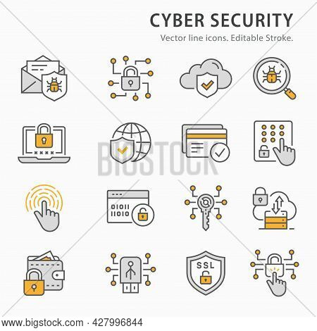 Cyber Security Icon Set. Collection Of Antivirus Firewall, Email Virus Threat, Access Control And Mo