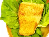 Fish dish - fried salmon fillet with vegetables poster