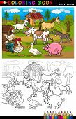 Coloring Book or Coloring Page Cartoon Illustration of Funny Farm and Livestock Animals for Children Education poster