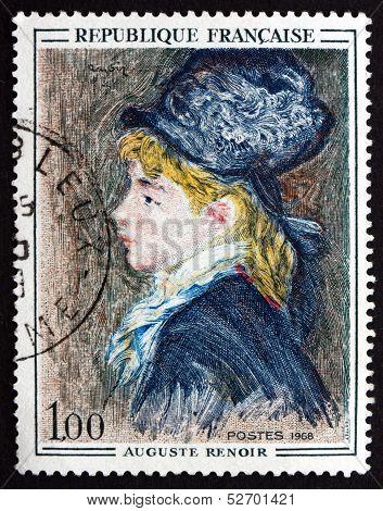 Postage Stamp France 1968 Portrait Of Model, By Auguste Renoir