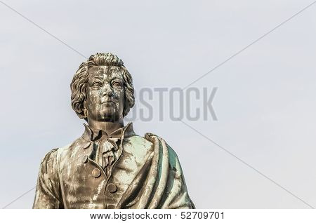 Mozart Statue On Mozart Square (mozartplatz) At Salzburg, Austri