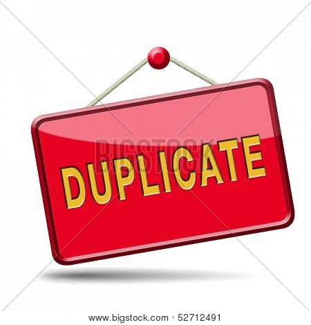 duplicate sign or icon double product or document label or button poster