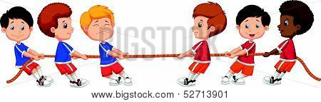 Group cartoon of children playing Tug Of War