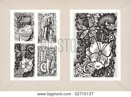 Illustrations Of Animal Themes (ink)