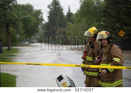 Fire Fighters Prepare to search for flood victims