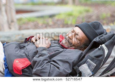 Old African American Homeless Man Sleeping
